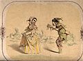 Two children dressed in jester's clothes perform a dance. Li Wellcome V0038824.jpg