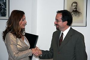 Khatuna Kalmakhelidze - Kalmakhelidze (left) meeting US Ambassador to Georgia John R. Bass