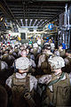 U.S. Marines and Sailors assigned to the 26th Marine Expeditionary Unit sit in a landing craft utility in the well deck of the amphibious transport dock ship USS San Antonio (LPD 17) during Eager Lion 2013 130607-M-HF949-001.jpg
