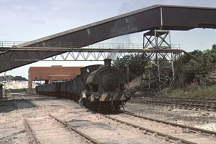 British industrial steam in the 1970s: a Robert Stephenson & Hawthorn 0-4-0ST shunting coal wagons at Agecroft Power Station, Pendlebury in 1976 UK Agecroft Power Station RSH 0-4-0ST 1976.jpg