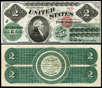 United States two-dollar bill - First $2 bill issued in 1862 as a Legal Tender Note.