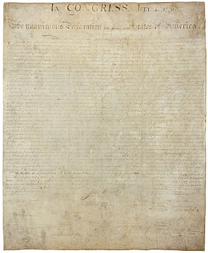 Historical document - A copy of the United States Declaration of Independence