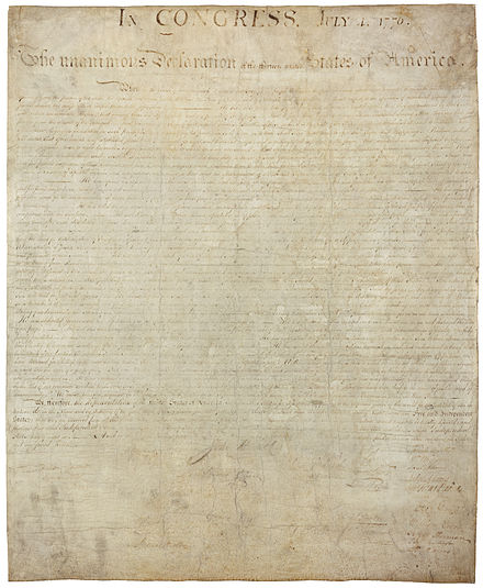 The signed copy of the Declaration is now badly faded because of poor preserving practices in the 19th century. It is on display at the National Archives in Washington, D.C. USA declaration independence.jpg