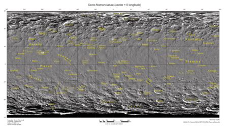 Map of Ceres feature names