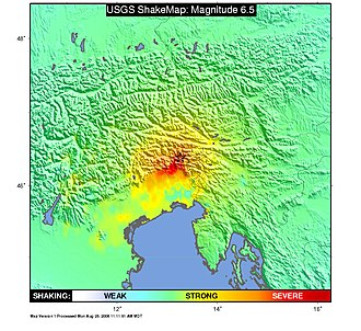1976 Friuli earthquake - USGS ShakeMap showing the intensity of the 1976 Friuli earthquake