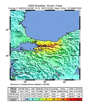 1999 İzmit earthquake - USGS ShakeMap showing the intensity of the event