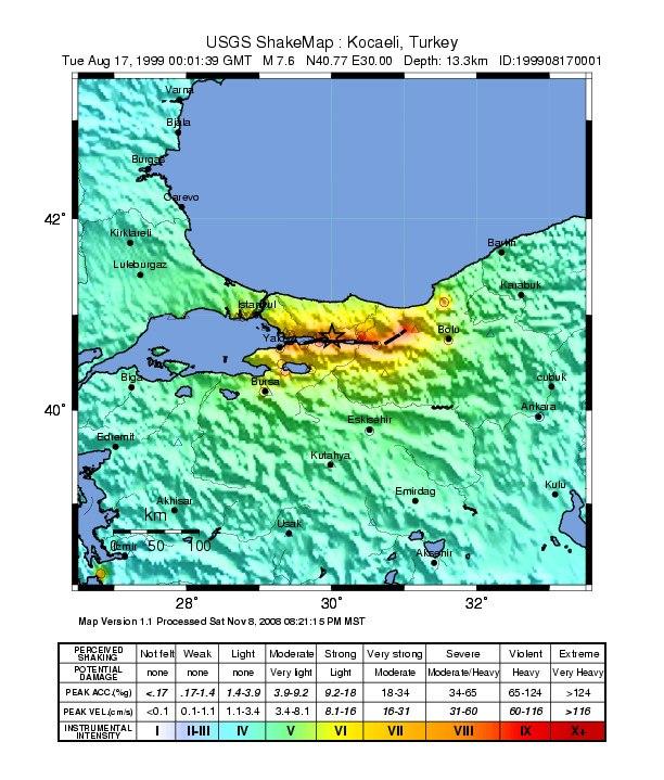 USGS Shakemap - 1999 Izmit earthquake