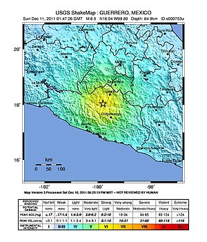 2011 Zumpango earthquake - USGS shakemap for the event
