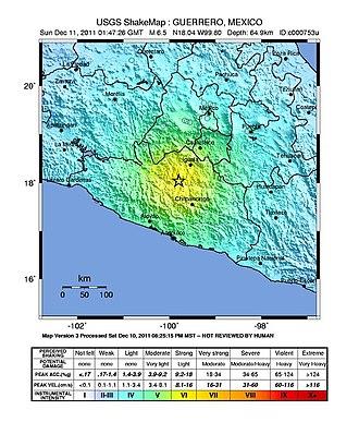 2011 Zumpango earthquake - USGS shakemap for the event