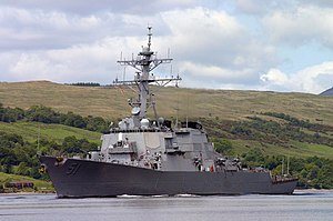 Exercise Joint Warrior - Image: USS Arleigh Burke (DDG 51) departs Clyde Naval Base