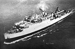 USS Cabildo (LSD-16), early 1950s, before addition of flight deck.