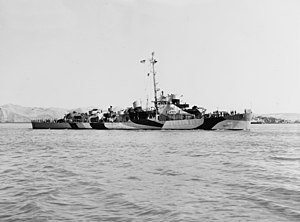 USS Halloran (DE-305) off the Mare Island Naval Shipyard on 7 June 1944 (NH 83890)