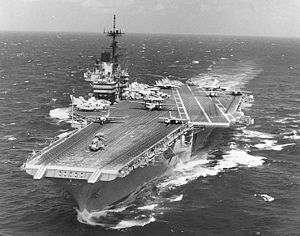 USS Independence (CV-62) - Image: USS Independence (CV 62) at sea during the later 1980s or early 1990s (NH 97715)