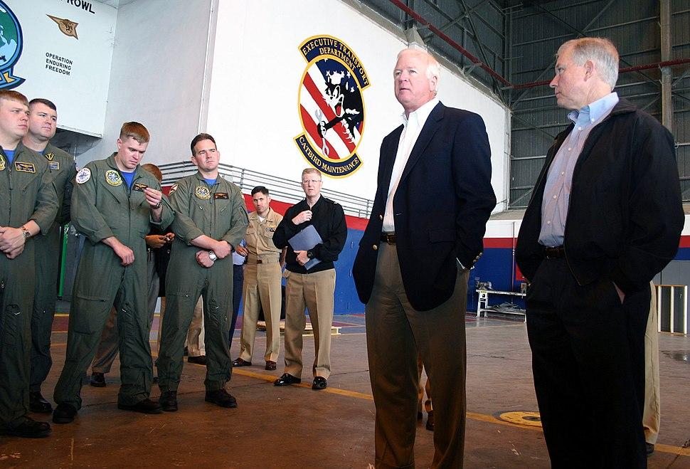 US Navy 040416-N-5821W-001 Georgia Senator Saxby Chambliss and Alabama Senator Jeff Sessions talk to Sailors