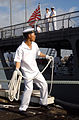 US Navy 040504-N-3019M-008 A Japanese Sailor aboard the Japanese Maritime Self-Defense Force (JMSDF) training vessel JDS Kashima (TV 3508) throws a line from the pier.jpg