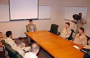 Jim Talent - Senator Talent addresses a group of sailors from Missouri on board Naval Support Activity Bahrain in 2004