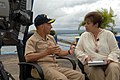 US Navy 070709-N-7088A-010 Following a tour of the Military Sealift Command hospital ship USNS Comfort (T-AH 20), Commander, U.S. Southern Command, Adm. James Stavridis meets with reporter Luz Maria Noli from TVN2 to conduct an.jpg