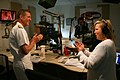US Navy 110830-N-YM440-003 Vice Adm. Dirk Debbink, Chief of Navy Reserve, is interviewed by Janeen Coyle for a segment of the Married with Micropho.jpg