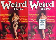 A magazine cover with a naked woman surrounded by cobras, next to a similar cover with the woman's torso concealed by a box of text