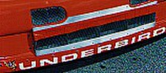 "Alan Kulwicki - ""Underbird"" lettering on the car's front bumper"