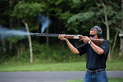 United States President Barack Obama shoots clay targets on the range at Camp David, Maryland.jpg