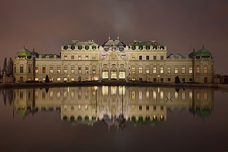 Belvedere, Vienna - Upper Belvedere at night