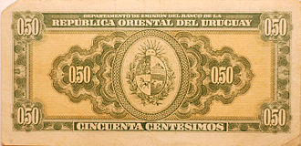Currency of Uruguay - 50 Centésimos Law of 1939 (back)