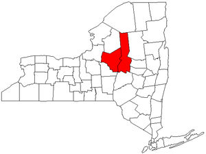 Utica–Rome Metropolitan Statistical Area - Map of New York highlighting the Utica-Rome Metropolitan Statistical Area.
