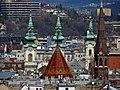 Víziváros church towers from Buda Castle, 2013 Budapest (191) (13228730935).jpg