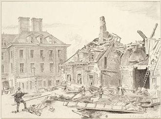 Randolph Schwabe - V2 Damage at the Chelsea Pensioners' Hospital London, SW3 (Art.IWM ART LD 4807)