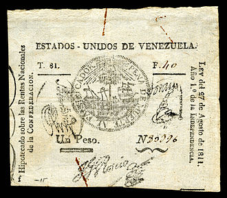 Currency of Venezuela - United States of Venezuela, 1 peso (1811), from the first issue of national paper currency.