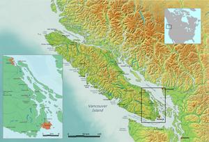 Lage Victorias an der Südostküste von Vancouver Island