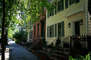 Wallabout Bay - Historic row houses on Vanderbilt Avenue in the nearby neighborhood.