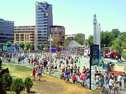 People celebrating Vardavar water festival in downtown Yerevan