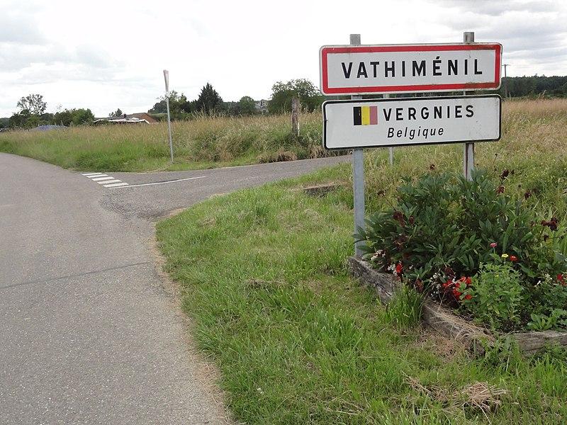 Vathiménil (M-et-M) city limit sign