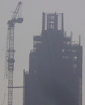 Vauxhall helicopter crash - The damaged crane attached to St George Wharf Tower as seen on the day of the crash