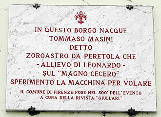 Tommaso Masini - Image: Via di peretola 43, targa tommaso masini,