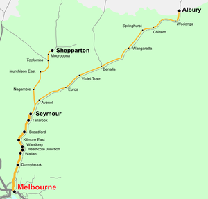 Shepparton railway line - Image: Vicrailmap albury