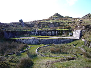 O Brook - Remains of one of the later mine workings
