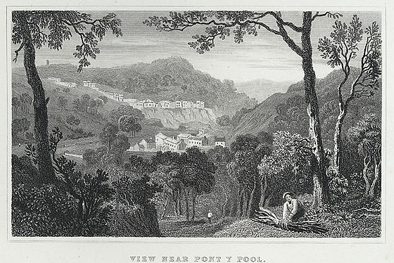 View of Pontypool, 1830 View near Pont y pool, Monmouthshire.jpeg