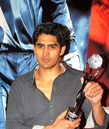 English: Vijender singh at the sahara indian s...