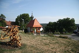 Village center and chapel of Saint George in Osové, Žďár nad Sázavou District.JPG