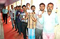 Voters standing in a queue to cast their votes, at a polling booth, during the Bihar Assembly Election, in Gaya on October 16, 2015.jpg