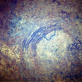 Vredefort crater The largest verified impact crater on earth, dating from the Paleoproterozoic Era