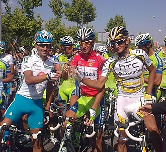 2010 Vuelta a España - Mosquera, Nibali and Velits (2nd, 1st and 3rd position respectively) toasting.