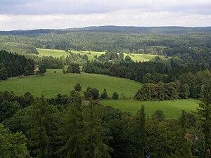 Javořice Highlands (Moravia) - Image: Vysokokamenská vrchovina, z Landštejna 01