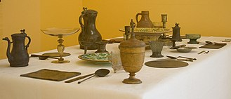 Tableware - Pewter and old glass tableware