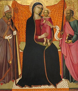 Luca di Tommè - Luca di Tommè's painting of Madonna and Child, tempera on panel