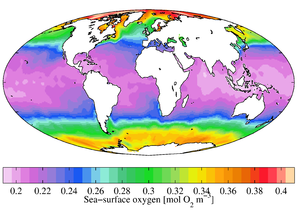 World Ocean Atlas - Annual mean sea surface dissolved oxygen (WOA 2009)