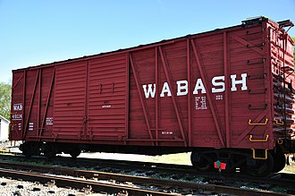 Wabash Railroad - This wooden box car, owned by the Wabash Railroad, was built in the 1920s and assigned to the Studebaker plant in South Bend, Indiana.